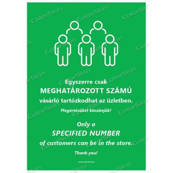 A4-es méretű álló formátumú információs matrica -  Létszámkorlátozás két nyelvű