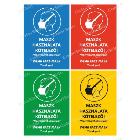 Álló formátumú információs matrica - Maszk két nyelvű