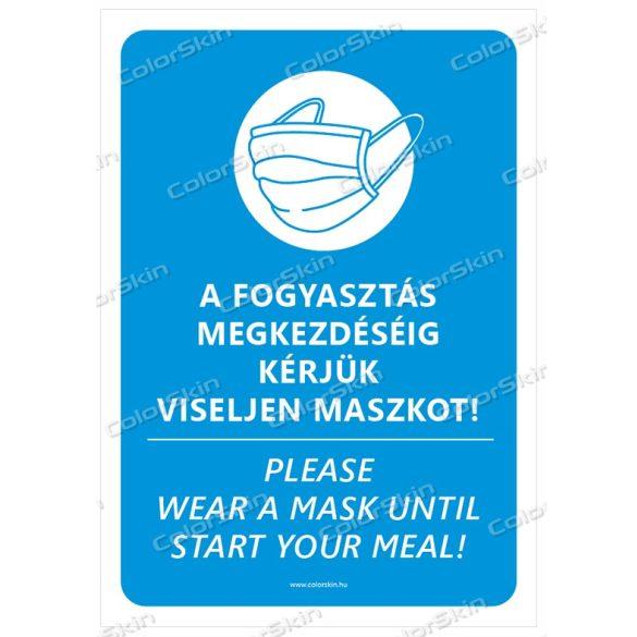 Éttermi maszk használatra felszólító matrica v1 két nyelvű