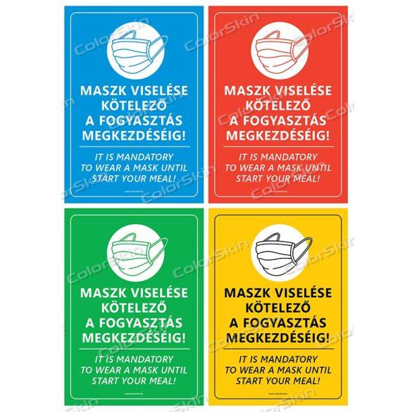 Éttermi maszk használatra felszólító matrica v2 két nyelvű