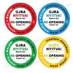 Újra nyitva! körmatrica két nyelven