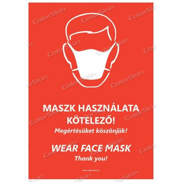 Álló formátumú információs tábla -  Maszk két nyelvű