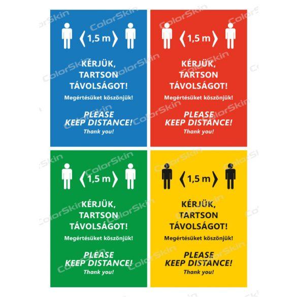 Álló formátumú információs tábla -  Kérjük, tartson távolságot két nyelvű