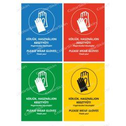 Álló formátumú információs tábla -  Kesztyű két nyelvű
