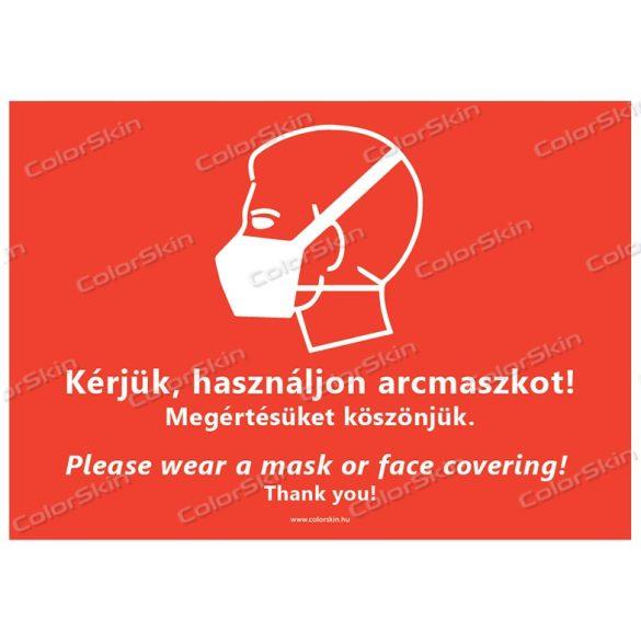 Fekvő formátumú információs tábla -  Maszk két nyelvű
