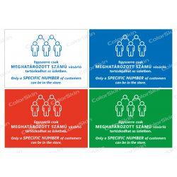 Fekvő formátumú információs tábla - Létszámkorlátozás két nyelvű