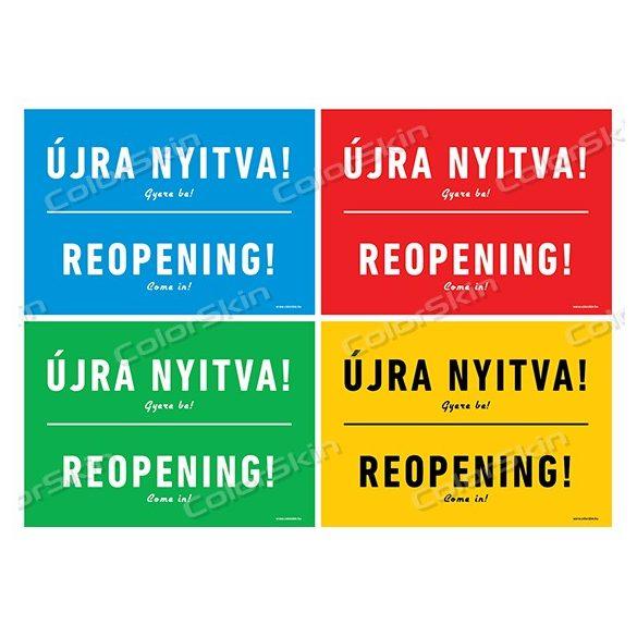 Újra nyitva! tábla két nyelven