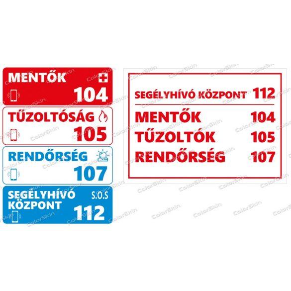 Fontos telefonszámok tábla