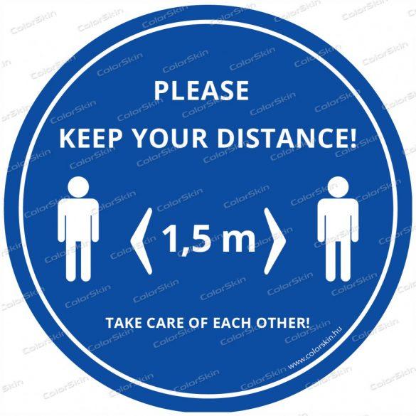 """""""Tarts távolságot!"""" padlómatrica angol nyelven - Please keep your distance!"""